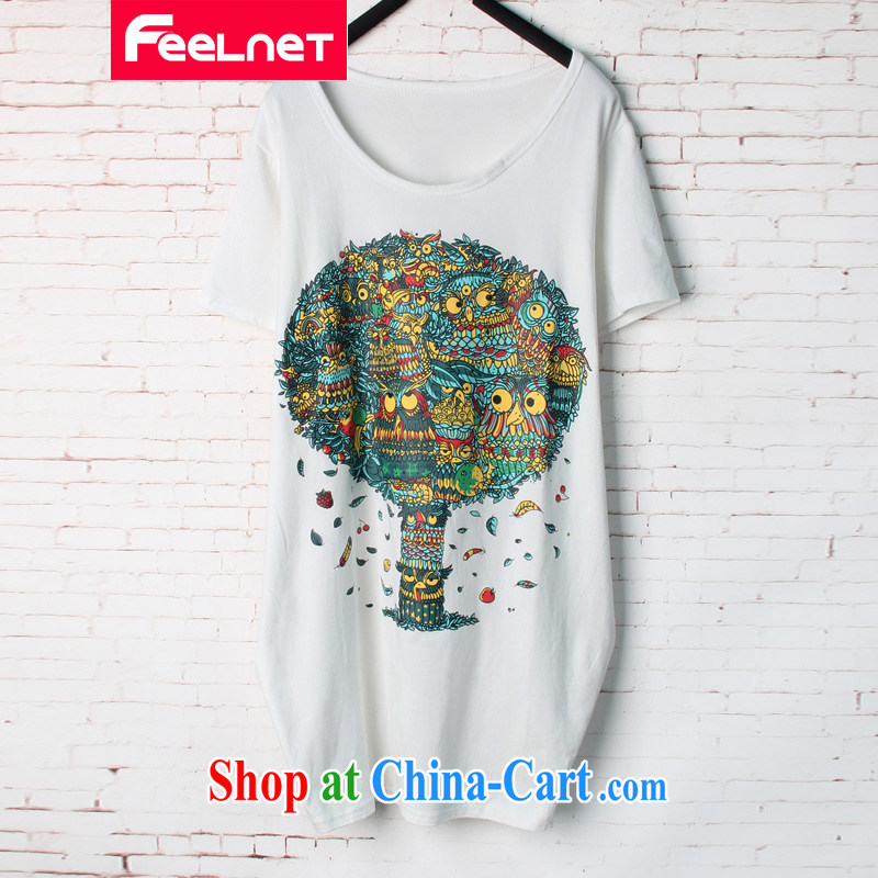 feelnet King code Korean summer new thick sister loose video thin, long, stamp duty short-sleeved T pension 1579 white 48 code_Recommended 90 - 150 kg