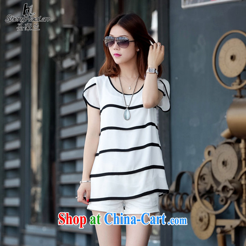 San-ho, 2015 summer New Beauty video thin loose the fat XL T shirts, round neck black-and-white striped short-sleeved snow woven shirts female white L 115 jack - 125 jack