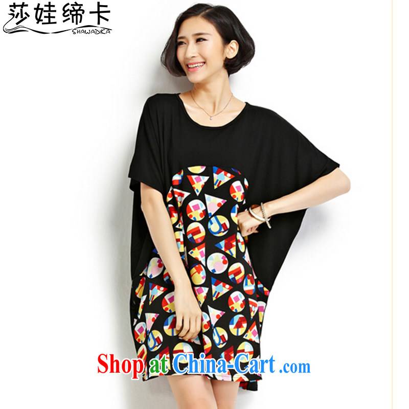 She concluded her card XL T-shirt 2015 new female thick sister T-shirt summer graphics thin spell color Korean college wind T shirt girls and black and red are code
