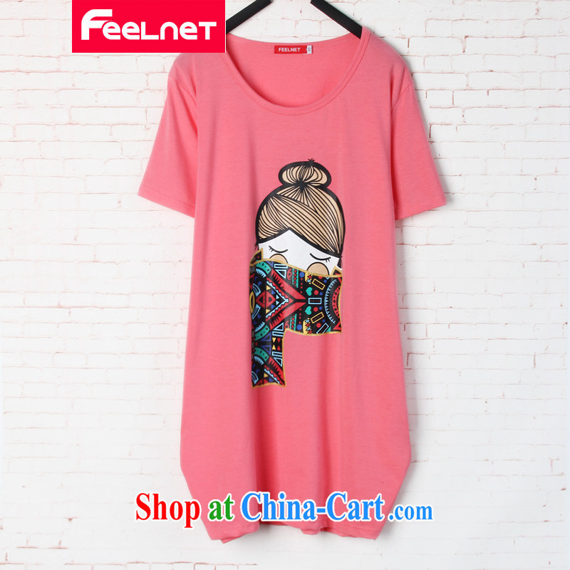 feelnet King code Korean summer new thick sister loose video thin, long, stamp duty short-sleeved T pension 1592 pink 48 code_recommendations 90 - 150 kg