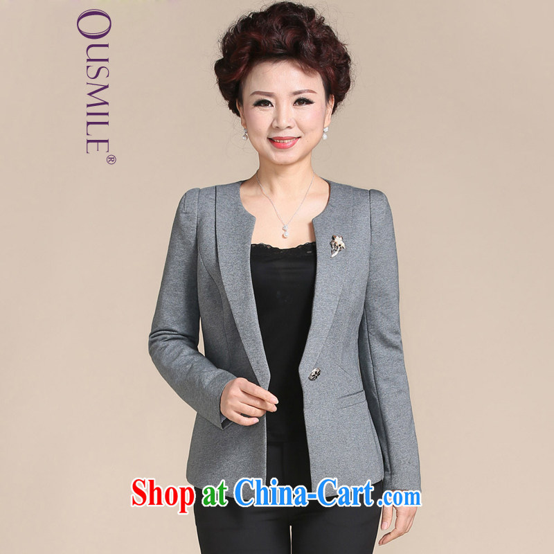 Ousmile spring 2015 new mom beauty graphics thin T-shirt small suit modern solid color jacket, older women with larger S 013 gray 4 XL