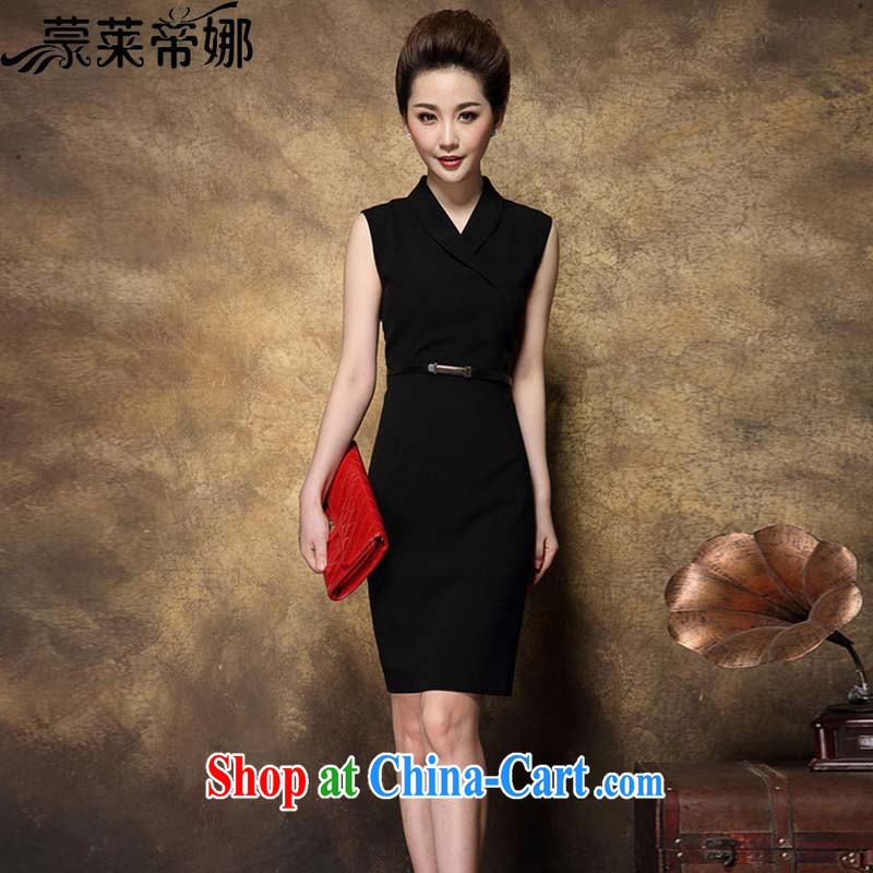 Tony Blair, in Dili, summer 2015 new dress with high-end big temperament Professional Beauty and elegant dresses female larger female summer 3004 black XXXL