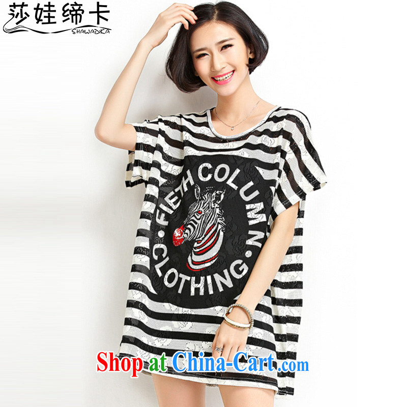 She concluded her card the Code women summer T-shirts female students Korean fashion 2015 summer stripes, short-sleeved T shirt female black-and-white bars are code