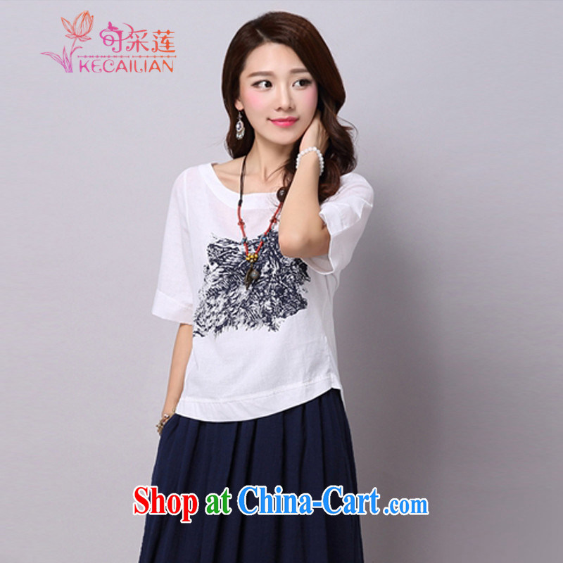 To the Hualien County summer 2015 new stamp duty 100 to loose the code short-sleeved linen cotton Ma T-shirt solid T-shirt T-shirt woman Y 031 picture color XXL