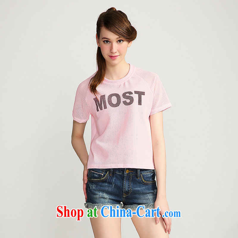 The Mak is the girls with 2015 summer new thick mm mesh letter pattern short-sleeve shirt T 652153020 4 Sheung Shui XL