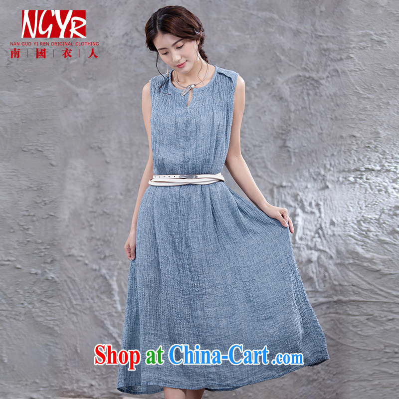 Xiao Nan Guo Yi, rain, the Code the commission cotton dress sleeveless dresses wrinkle the embroidered long skirt double loose gray-blue, code _chest of 100 - 104 CM_