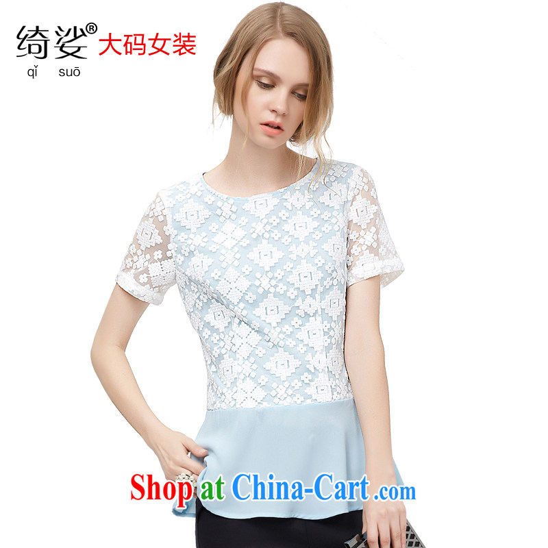 cheer for 2015 XL girls thick MM summer new Korean sweet lace T-shirt graphics thin mask poverty short-sleeved shirt T 2777 blue 3 XL