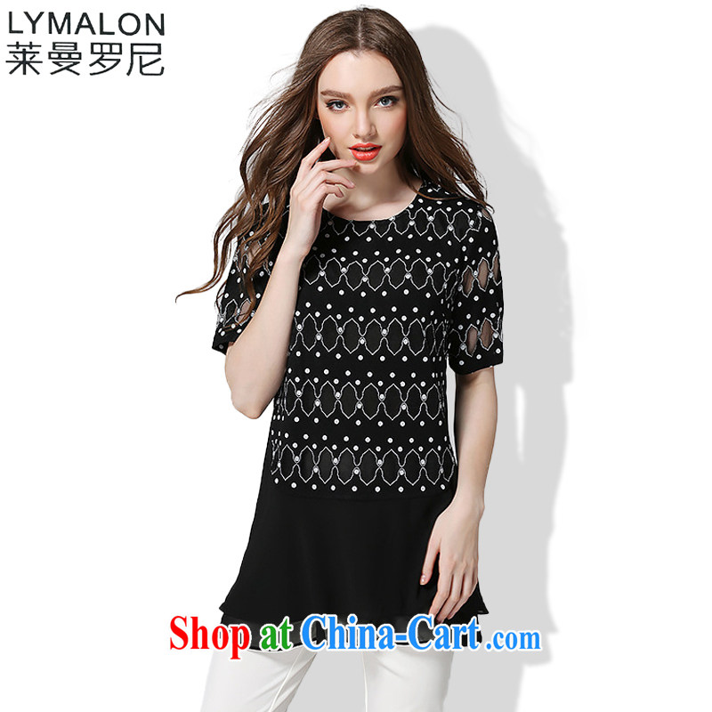 Lehman Luo, thick, thin. Summer 2015 the Code women with high-end European and American fare is indeed more relaxed thick sister short-sleeved snow woven dresses 1030 black XXXL