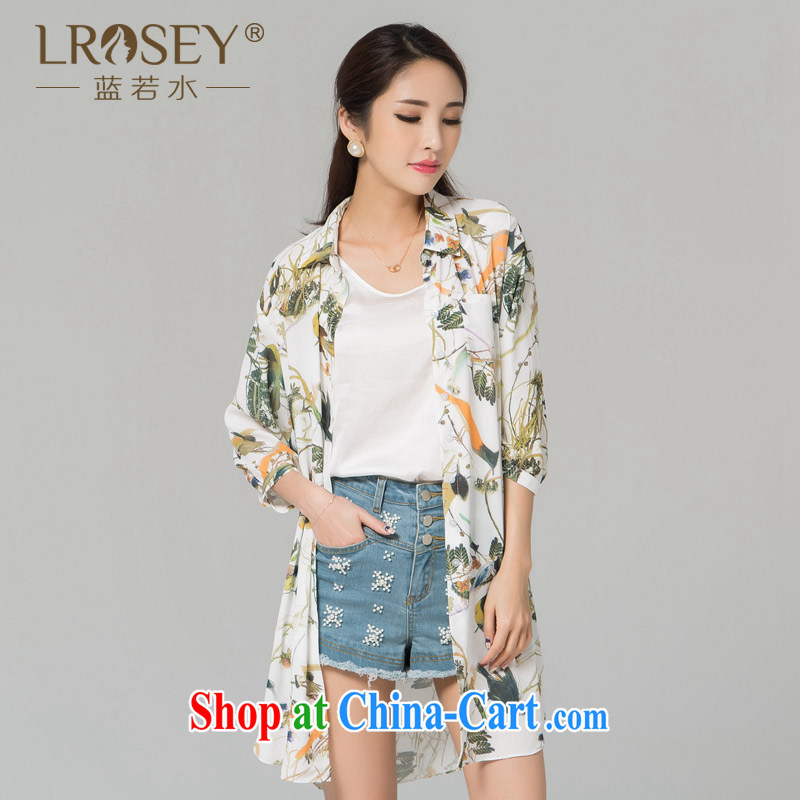 blue if the water increase, female 2015 summer new thick MM liberal sunscreen clothing stamp snow in woven long shirt suit the code XXL