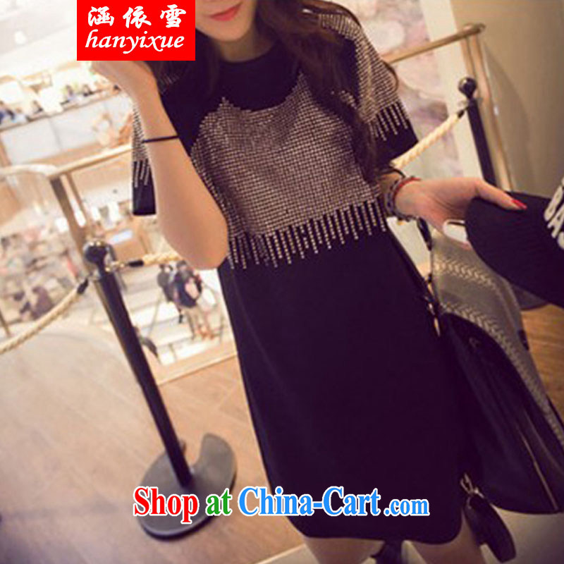 covered by snow in accordance with Korean version of the new, King, female summer mm thick long leisure T shirt loose video thin short-sleeved style Yoo staple the code dress black 3 XL 160 - 200 Jack left and right