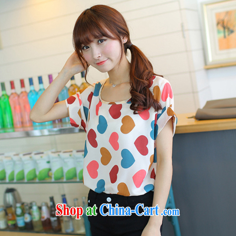 Summer 2015 new thick sister larger female Sweet Love short-sleeved snow woven solid short-sleeved T-shirt picture red code XL recommendations 120 - 145 jack