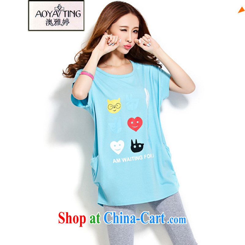 o Ya-ting 2015 summer New, and indeed increase, female fat mm video thin short sleeved shirt T female liberal blue XL recommends that you 180 - 200 jack