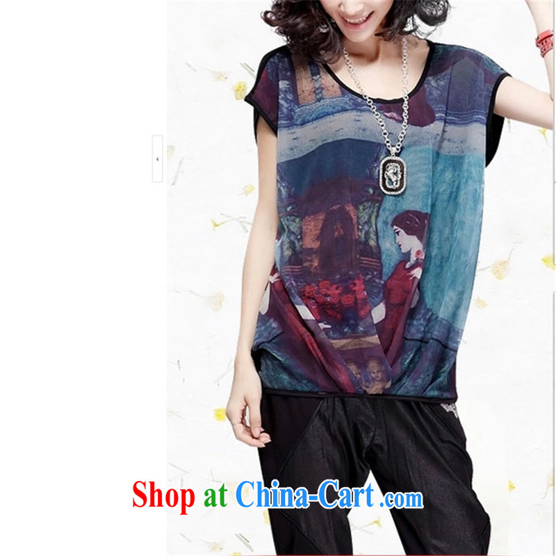 And the king, female 2015 summer new short-sleeved loose ultra graphics thin thick mm snow T woven shirts black XXXXL