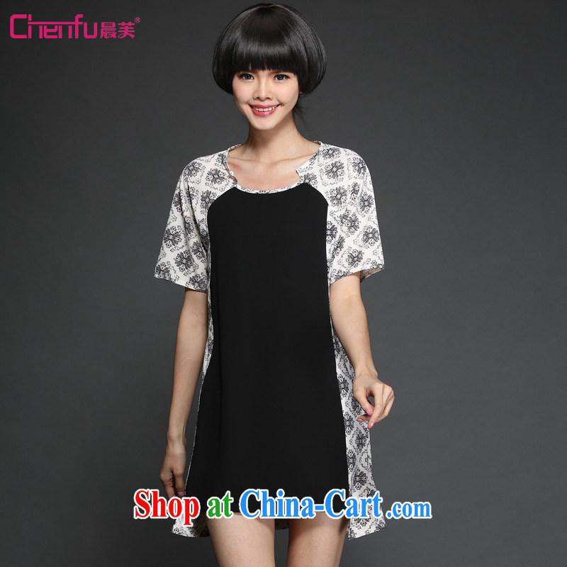 Morning would be 2015 summer new Korean version is indeed the XL female fat sister and stylish beauty graphics thin knocked color stamp stitching short-sleeved snow woven dresses black 5 XL (180 - 200 ) jack