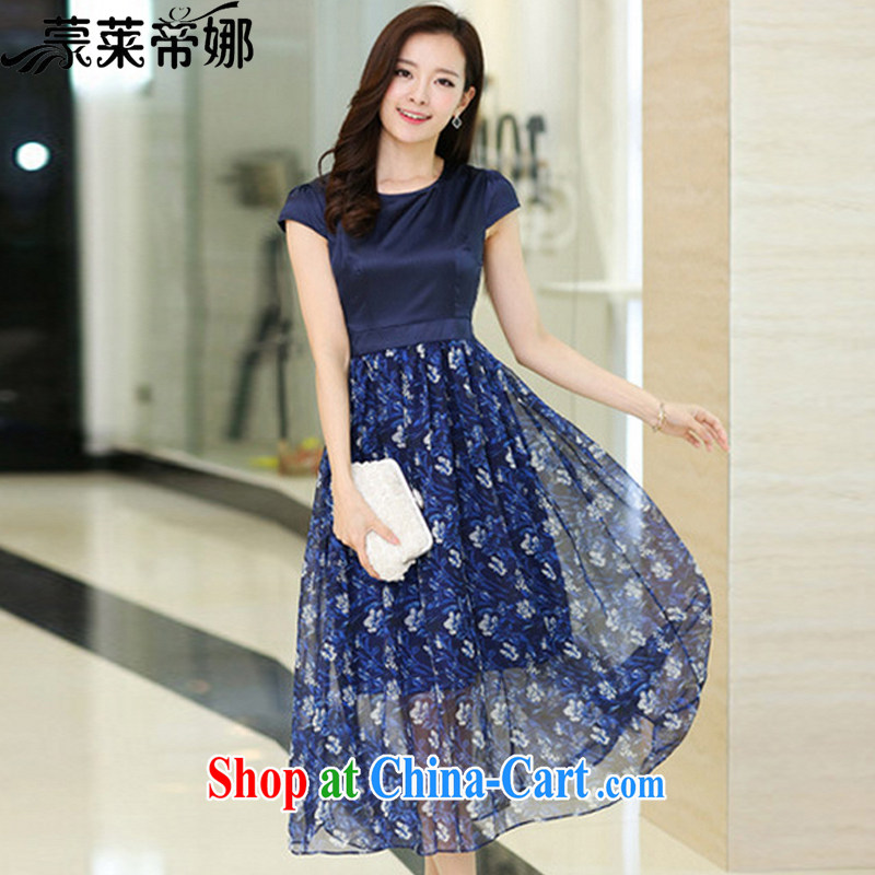 Tony Blair, in Dili, summer 2015 new women with stylish and elegant emulation Silk Dresses silk floral dragging skirts 6034 dark blue short-sleeved XXXL