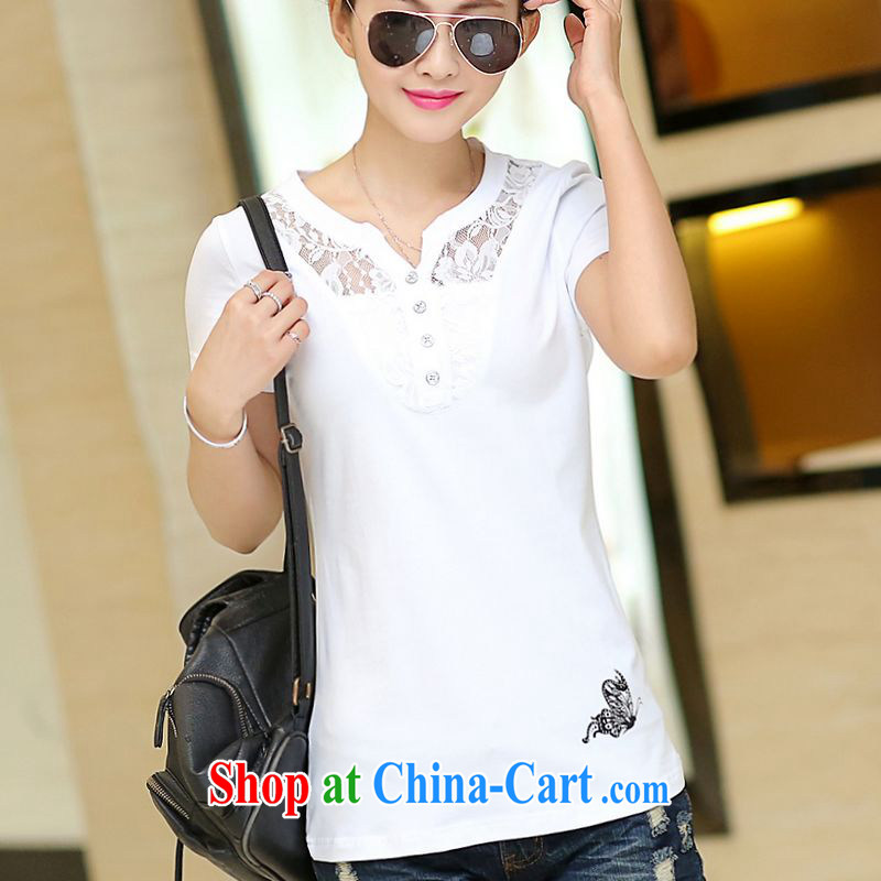 The Diane 200 jack and indeed increase, female fat MM summer thick sister 2015 new short-sleeved shirt T large solid white shirt 5 XL recommendations 185 - 200 jack