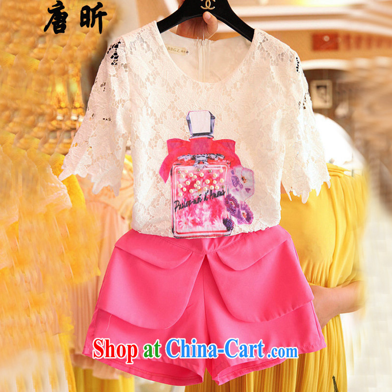 Tang year summer new, larger female sweet lace T-shirt thick MM loose two-piece + shorts picture color 7196 XL 4 165 - 175 Jack left and right