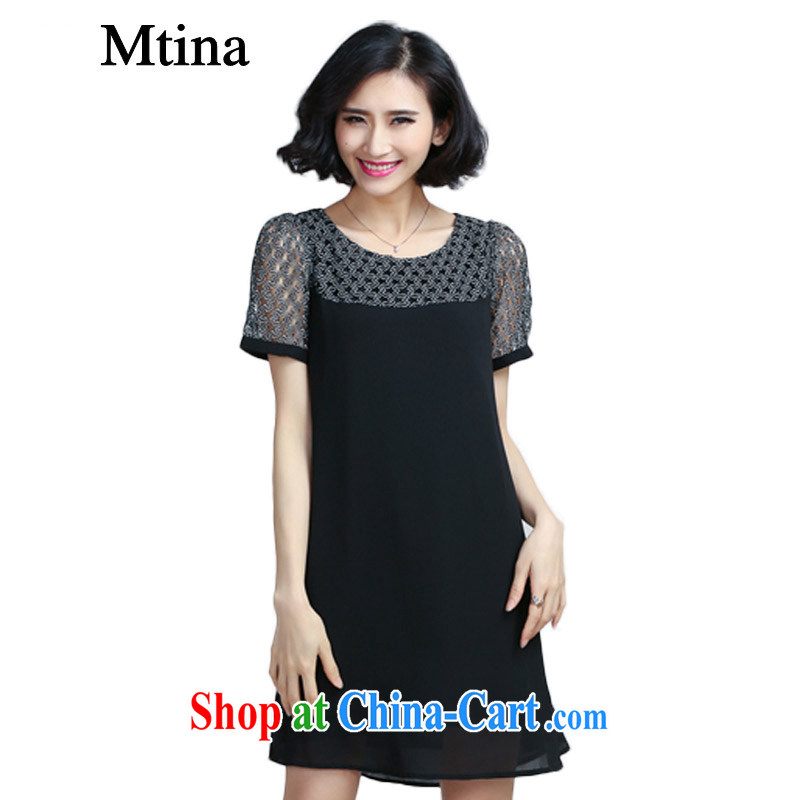 The Mtina Code women's clothing dresses snow woven summer 2015 new Korean version stamp duty has been barrel dress loose the code 6067, black L