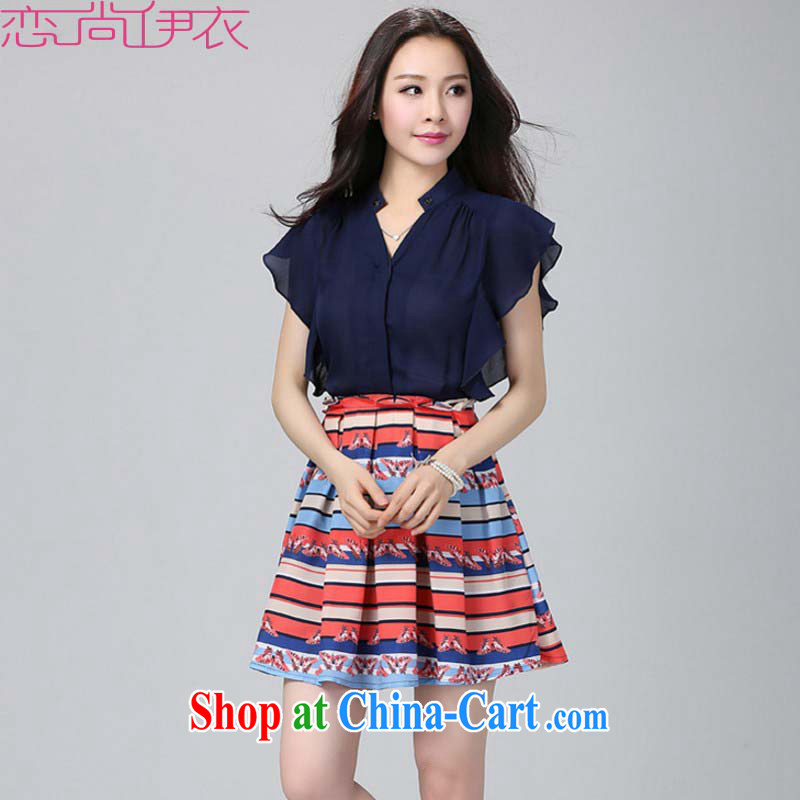The stylish summer is indeed the XL dresses stamp 2015 summer thick sister V collar flouncing snow stamp duty woven skirt commuter short skirts dark blue 3XL approximately 155 - 170 jack