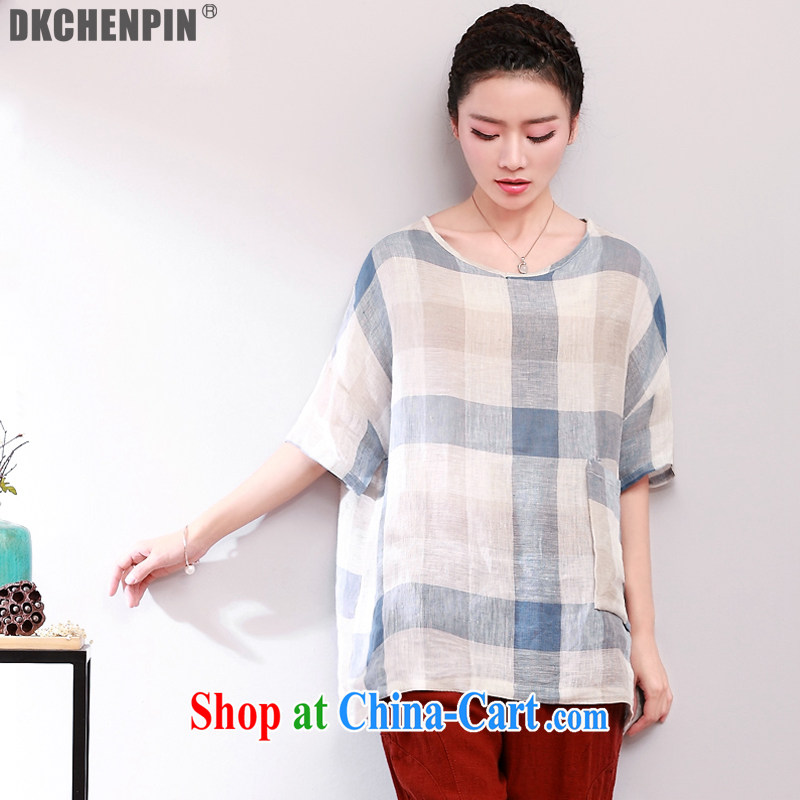 The 2015 code female thick MM summer middle-aged mother with cotton the loose short-sleeved T-shirt girls summer tartan T-shirt, Milan are code