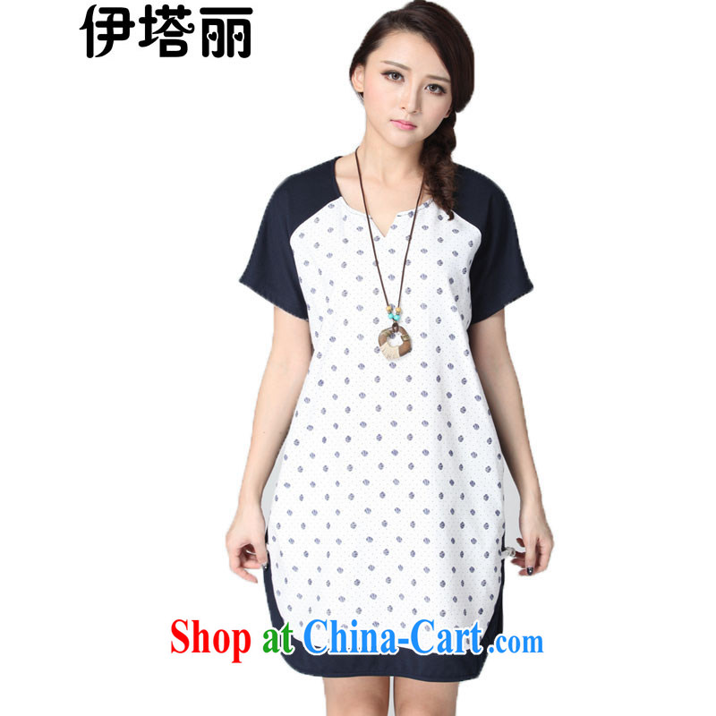 The Taliban, the Code women summer 2015 new the FAT and FAT mm video thin dresses King thick sister short-sleeve solid skirt 200 Jack round-collar short skirt blue 6 XL