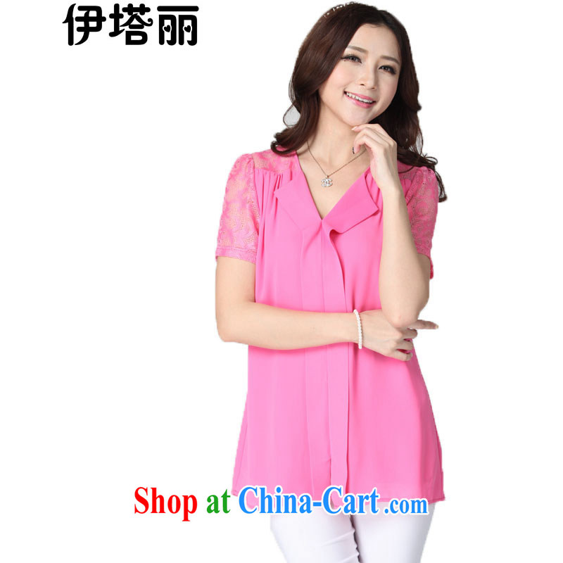 The tower, summer 2015 new 200 Jack mm thick graphics thin ice woven shirts large, female and indeed increase T-shirt King lace stitching short-sleeved solid T-shirt by red 4 XL