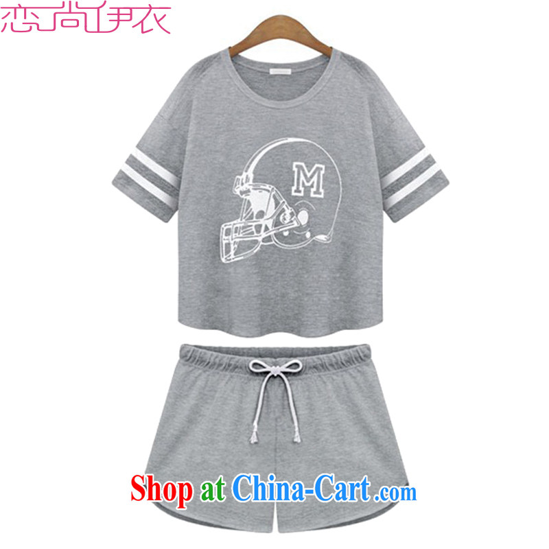 The payment the ventricular hypertrophy, female sports package thick MM summer leisure relaxed, two-piece thick sister sweater jacket bat sleeves shirt T short pants gray 5 XL approximately 190 - 210 jack