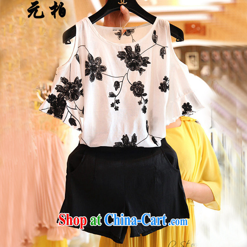 Robert Black $summer new, the United States and Europe, female bare shoulders flouncing embroidered cuff snow woven shirts two-piece + shorts white + black trousers 7197 XL 5 180 - 195 Jack left and right