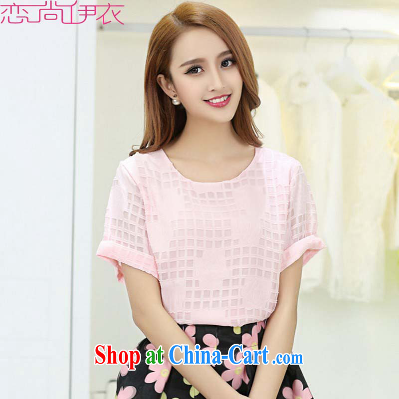 The load is increased, female T shirts 2015 new summer round-collar short-sleeve plaid rose blossoms loose T-shirt graphics thin commuter 100 ground m thick pink XXL approximately 145 - 160 jack