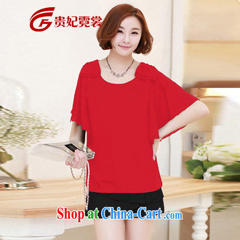 queen sleeper sofa Ngai Sang King, female 2015 summer thick MM XL Korean Beauty graphics thin short-sleeve bowtie snow woven shirts T-shirt shirt 1643 red 2 XL
