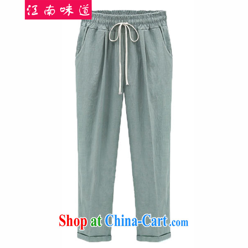 taste in Gangnam-gu, the female Trouser press the code female summer is the increased emphasis on human graphics thin, elastic waist pants linen loose long pants 5131 light green 3 XL recommendations 140 - 160 jack