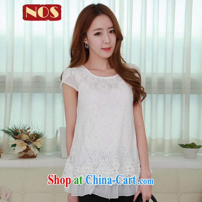 In NOS long lace stitching snow woven embroidered a waist graphics thin, with relatively thin T pension larger female Q 983,651 large white code 4 XL