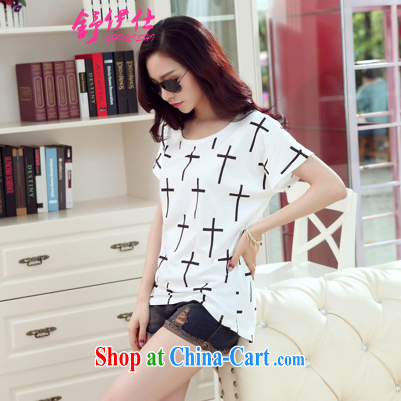 Shu, Shi-new stylish Korean short-sleeved summer cotton loose the code bat sleeves ladies T shirt sweet thick sister T-shirt comfortable soft breathable style small shirt white L