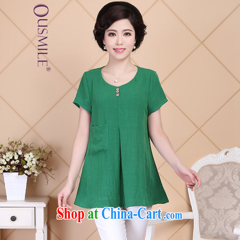 2015 Ousmile new summer, older mom with simple and stylish plain-colored short-sleeved shirt T girl shirt large code R 018 green 4 XL
