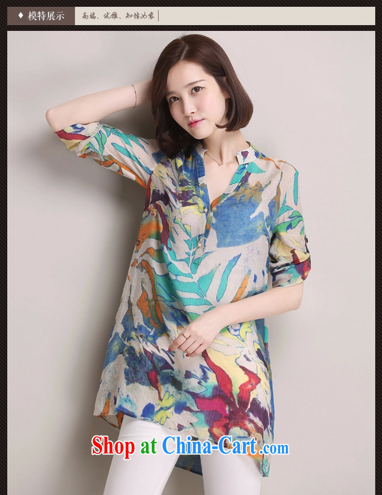 Arthur magic Yi 2015 summer new, larger female Korean version 100 on stamp duty, long shirt, cotton the loose video thin shirt female blue color XXXL pictures, price, brand platters! Elections are good character, the national distribution, so why buy now enjoy more preferential! Health
