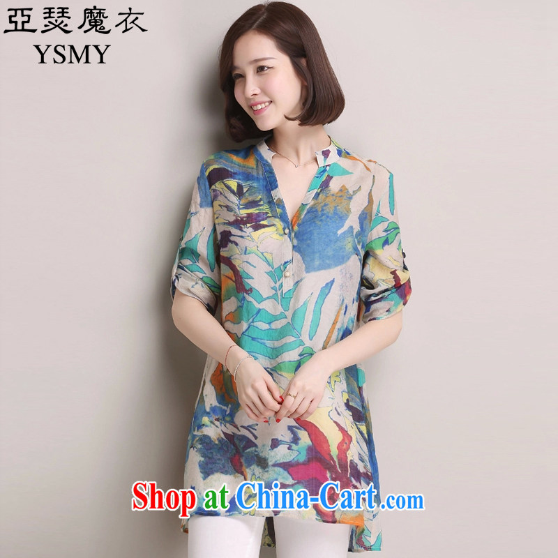 Arthur magic Yi 2015 summer new, larger female Korean version 100 on stamp duty, long shirt, Ms. Yau Ma Tei cotton loose video thin shirt female blue color XXXL