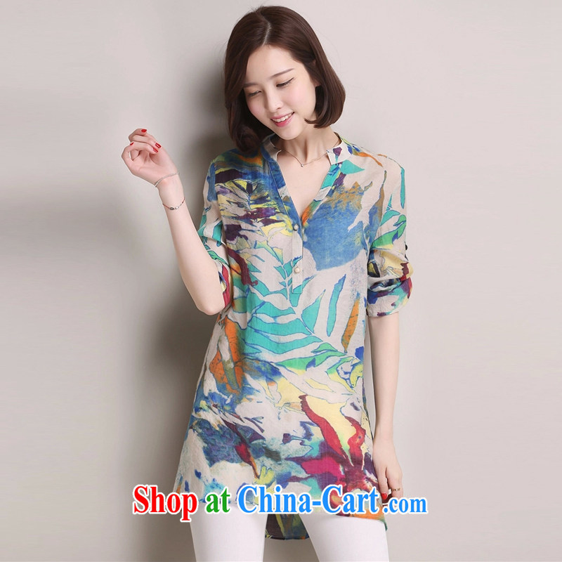 Arthur magic Yi 2015 summer new, larger female Korean version 100 on stamp duty, long shirt, cotton the loose video thin shirt female blue color XXXL, Arthur magic clothing, shopping on the Internet