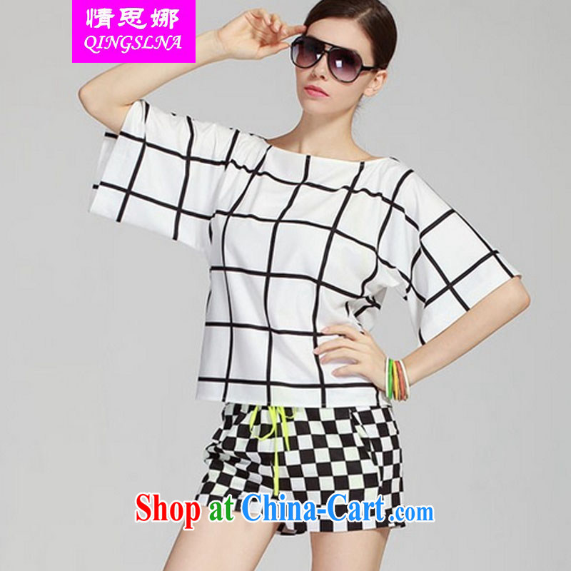 The love of summer 2015 new thick sister XL video thin black-and-white grid bat sleeves snow woven shirts shorts leisure package female black XXXXL