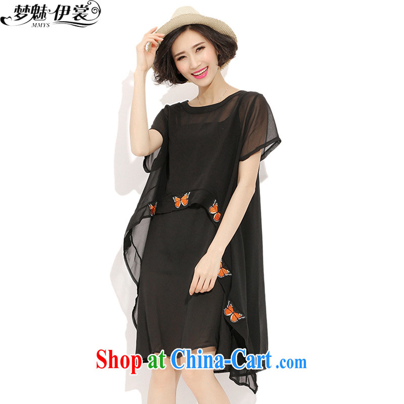 Director of the Advisory Committee 2015 summer new XL girls thick mm video thin, long, snow-woven shirts two-piece short sleeve suits skirt black loose all code