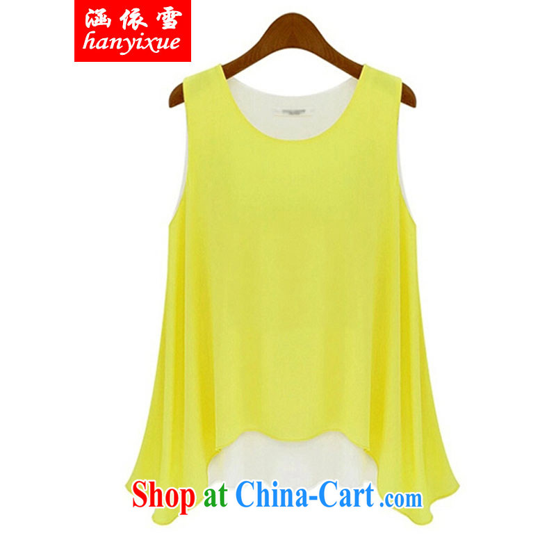 covered by snow in 2015 and indeed XL female summer thick sister snow woven leave two Sleeveless T-shirt yellow 5 XL