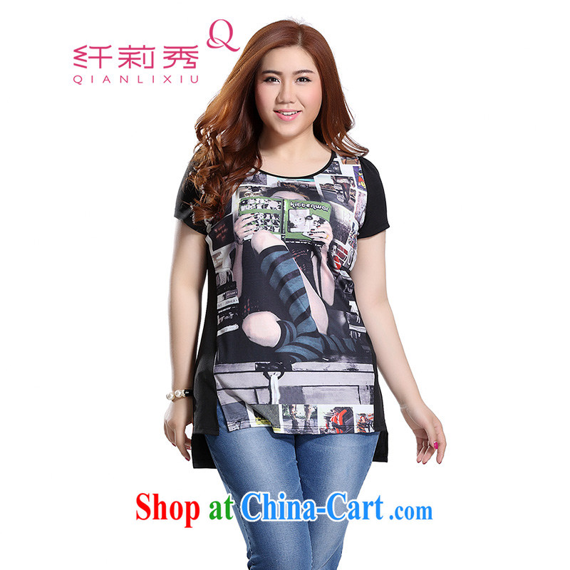 Slim LI Sau 2015 summer new, larger female American street girls digital stamp hit the the forklift truck, with a head video thin 100 ground T pension Q 8662 black 3 XL