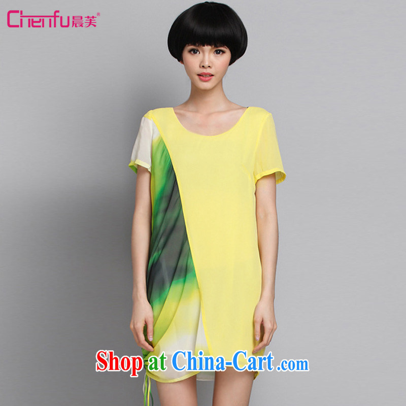 Morning would be summer 2015 new Korean version mm thick stylish graphics thin stitching snow woven dresses and indeed XL female wrinkled collision color stamp dresses yellow 5 XL _recommendations 150 - 160 jack_