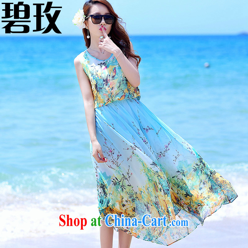 Under the 2015 new summer dress code the dress beach skirt floral retro bohemian dresses fairy large skirt blue stamp XXL