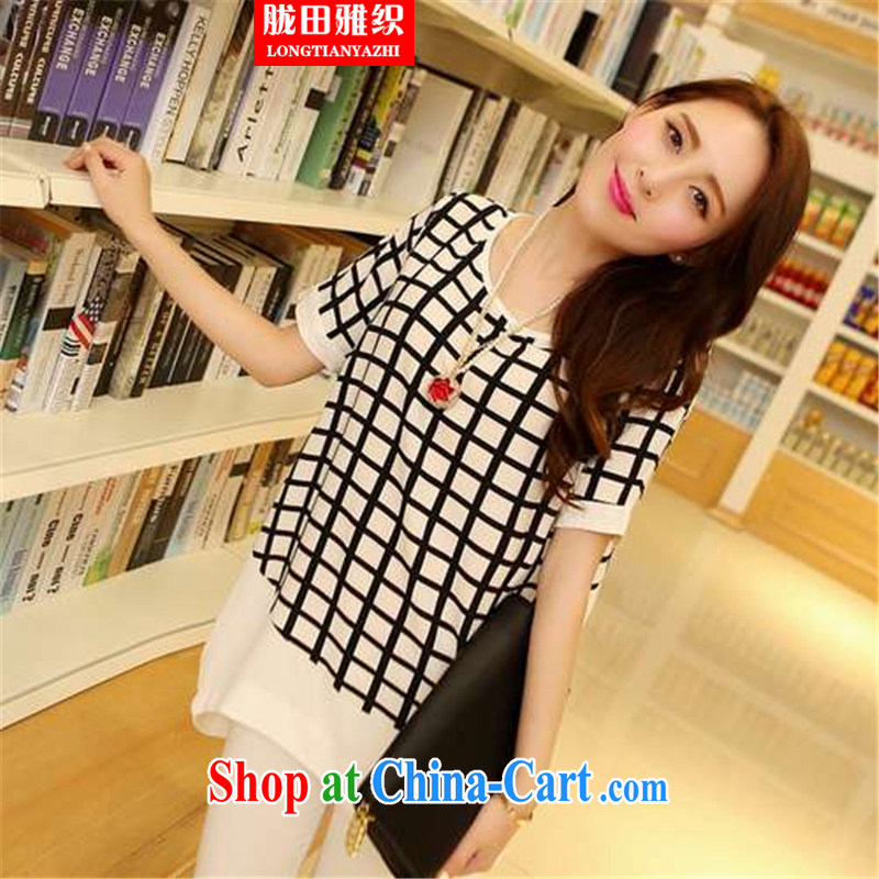 measures, the Organization's version of the greater code female thick mm video thin Jack snow woven shirt short-sleeved, long T shirts black tartan large code 3XL 165 - 200