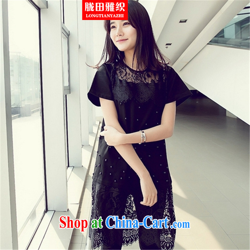 measures, including biological empty nails Pearl lace, with Korea, the Hong Kong Wind dress black large code XXXL