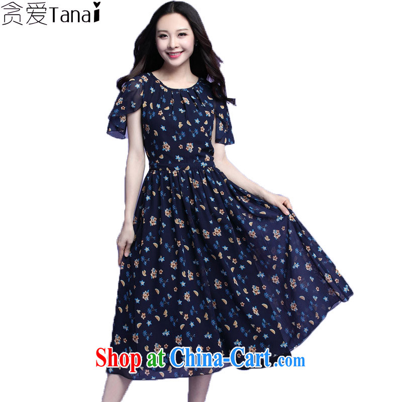 loved the code female summer new short-sleeved snow woven floral thick mm long dress 3709 blue XXXL