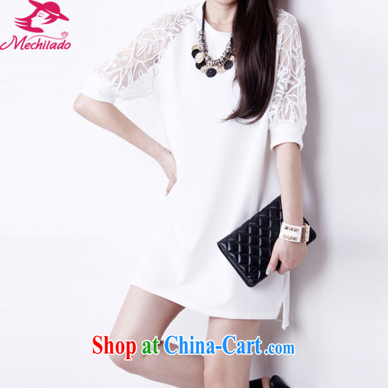 2015 Mechilado new summer Korean female large, thick MM lace bare shoulders in Loose Cuff snow woven dresses 8801 _white XXXL