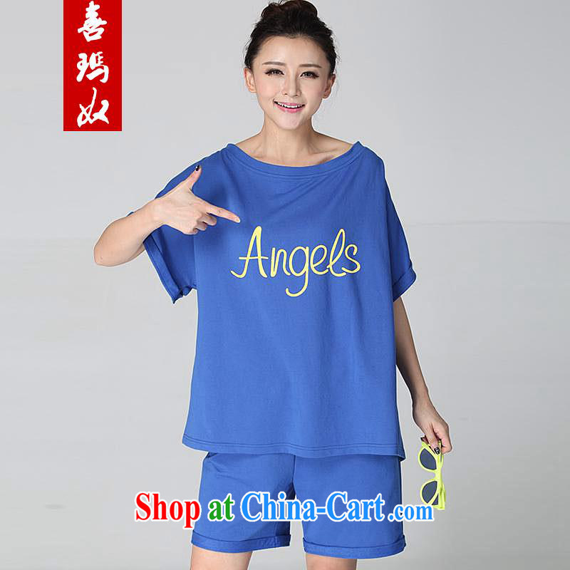 Hi Princess slave loose video thin letter stamp stretch Elastic waist shorts T pension campaign kit larger female D 50,129 large blue code 6 XL