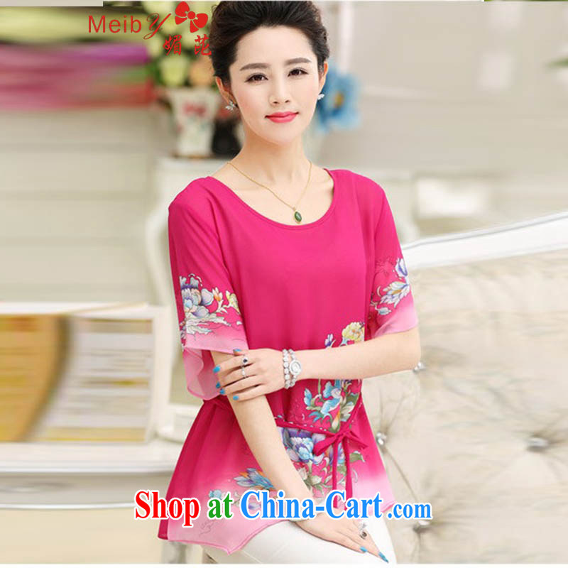 The Code women 100 on board the code MOM replace summer short-sleeve shirt T Summer Snow loose woven shirts middle-aged style blouses of 9667 red XXXXL