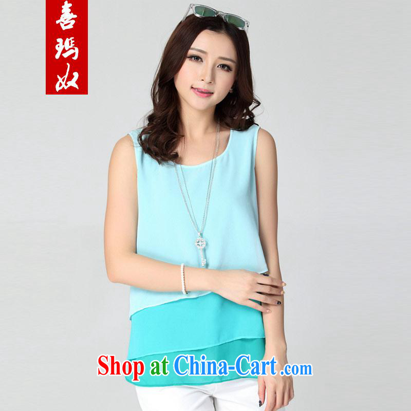 Hi Princess slaves cultivating graphics thin is thin stitching knocked color snow woven cake layer vest T pension larger women D 50,239 large green code 6 XL